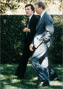 President Jimmy Carter, right, walks the grounds of the White House with chief of staff Hamilton Jordan in this undated photo.