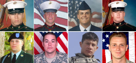 Top row, from left to right: Marine Cpl. Jeremiah Baro, Marine Lance Cpl. Tony Butterfield, Senior Airman Nick Eischen, Marine Lance Cpl. Jared Hubbard; Bottom row: Army Spc. Nathan Hubbard, Army Pfc. Rowan Walter, Army Cpl. Mike Rojas, Army Sgt. Steve Packer