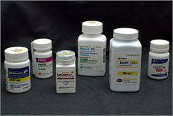 Antidepressants, from left, Wellbutrin, Paxil, Lexapro, Effexor, Zoloft and Fluoxetine. Stroke patients on Lexapro were 4.5 times less likely to develop depression, researchers say.