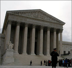 The Supreme Court of the United States was scheduled to meet today. Here, the building in Washington is seen in March.