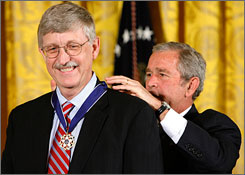Francis Collins receives the Presidential Medal of Freedom from President Bush Nov. 5 at the White House.