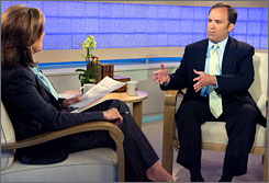 Former White House Press Secretary Scott McClellan defended his tell-all book on NBC's Today show on Thursday. Here, McClellan is seen with Today host Meredith Vieira on the set Thursday morning.