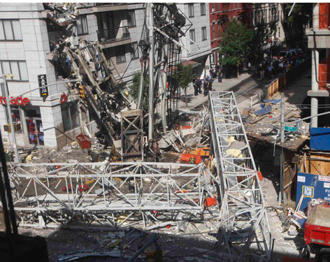 A crane collapsed Friday on the East Side of Manhattan in New York City. Two people died.