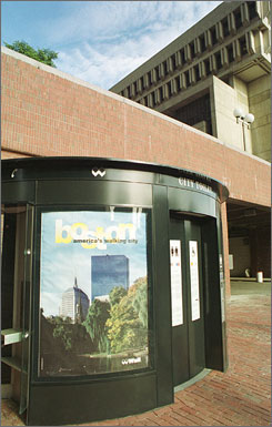 An automated toilet outside Boston City Hall sanitizes itself after each use.