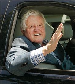 Sen. Edward Kennedy, recently diagnosed with brain cancer, underwent brain surgery Monday at Duke University Medical Center in Durham, N.C. Here, the 76-year-old is seen arriving at the family's Cape Cod, Mass., compound in May.