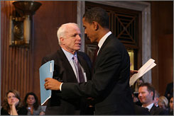 Barack Obama has called for divestments in Iran-related companies. John McCain has said corporations and government institutions should pull their money out of Iran.