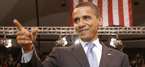 Barack Obama  seen during an election night rally in St. Paul, on Tuesday  has effectively clinched the Democratic nomination for president, according to an Associated Press tally of convention delegates.