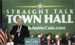 Sen. John McCain speaks to supporters during a town hall meeting campaign event in Baton Rouge June 4.