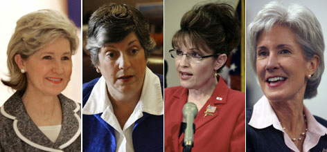 From left to right: Texas Sen. Kay Bailey Hutchison, Arizona Gov. Janet Napolitano, Alaska Gov. Sarah Palin, Kansas Gov. Kathleen Sebelius