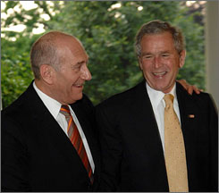 Israeli Prime Minister Ehud Olmert met with President Bush to discuss further peace talks in the Middle East at the White House, Wednesday. Olmert wraps up his visit to the U.S. today.