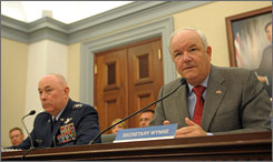 Air Force Secretary Michael Wynne, right, and Chief of Staff Gen. T. Michael Moseley testify before the House Appropriations Committee in March. Both are expected to resign Thursday.