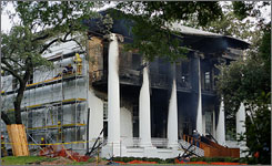 "The historic Texas Governor's Mansion is shown after a fire that officials described as ""bordering on catastrophic."""