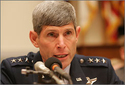 Defense Secretary Robert Gates is recommending Gen. Norton Schwartz for next Air Force chief. Schwartz is seen here testifying before the House Armed Services Committee in July 2004