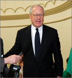 Jim Johnson has stepped down from the vice presidential search team affiliated with presumptive Democratic presidential nominee Barack Obama, the senator from Illinois. Here, Johnson is seen arriving on Capitol Hill on Monday for a meeting.