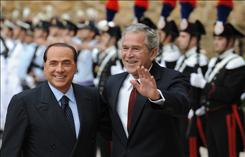 Italian Prime Minister Silvio Berlusconi and President Bush met Thursday in Rome. Berlusconi pledged to allow Italian troops to go into combat zones in Afghanistan, a key goal of Bush's trip.