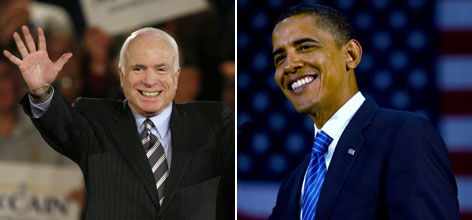 A global poll taken by the Pew Global Attitudes Project found Sen. Barack Obama, right, a more popular candidate than Sen. John McCain, left.