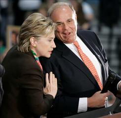 Sen. Hillary Rodham Clinton listens to Pennsylvania Gov. Ed Rendell as they take the stage during an April campaign stop. Rendell helped deliver his state to Clinton during the primary season but Friday will appear at a fundraiser for presumptive Democratic presidential nominee Barack Obama.