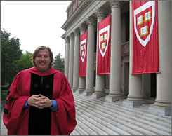 Benjamin Bolger, 32, recently earned his first doctorate from Harvard. He's helped finance his degrees by teaching.