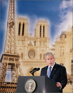 President Bush told an audience at the Organisation for Economic Co-Operation and Development meeting in Paris on Friday that the United States must stand together in fighting terror, promoting peace and keeping the world safe.