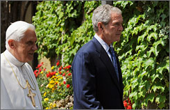 President Bush walks with Pope Benedict XVI to the Lourdes Grotto in the secluded Vatican Gardens on June 13.