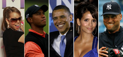 Multicultural celebrities. From left to right: Singer Mariah Carey, golfer Tiger Woods, Sen. Barack Obama, actress Halle Berry, New York Yankees shortstop Derek Jeter
