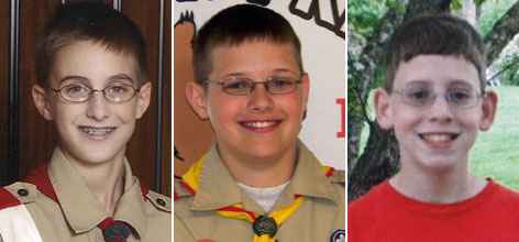 From left to right: Aaron Eilerts, 14; Ben Petrzilka, 14; Sam Thomsen, 13