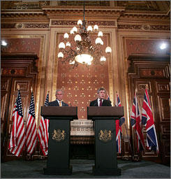 President Bush and British Prime Minister Gordon Brown pledged a united front Monday during a joint press conference in London. Both leaders traded compliments about the other's positions on Afghanistan and Iraq. The visit took part as Bush began wrapp[ing up his European tour.