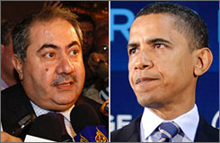 Presumptive Democratic presidential nominee Barack Obama, right, says he will visit Iraq and Afghanistan. Obama made the announcement Monday after speaking with Iraqi foreign minister Hoshyar Zebari, left.
