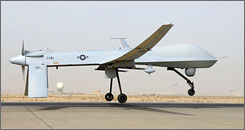 A MQ-1B Predator unmanned aerial vehicle takes off from Balad Air Base in Iraq.