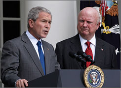 President Bush, flanked by Energy Secretary Samuel Bodman, told reporters at the White House Wednesday that Congress must lift its ban on offshore oil and gas drilling.