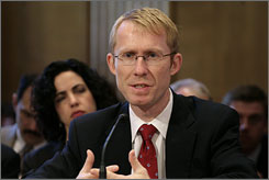 Walter Lukken, acting chairman of the Commodities Futures Trading Commission (CFTC), testifies before the Senate Financial Services and General Government Subcommittee in Washington on Tuesday. The CFTC will now require trades placed on the ICE Futures Europe, an electronic exchange based in London, to adhere to the same position limits and reporting standards that apply in the USA.