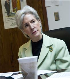 Kansas Gov. Kathleen Sebelius listens at a March discussion of military benefits at the Smoky Hill Range outside Salina, Kan. Sebelius has been mentioned as a potential Democratic vice presidential nominee, and observers see her Kansas and Ohio backgrounds as advantageous.