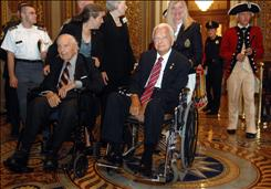 Sen. Robert Byrd, D-W.Va., right, sits Wednesday with the last surviving WWI vet Frank Woodruff Buckles, of Charles Town, W.Va., before honoring Buckles at a ceremony at the Capitol.