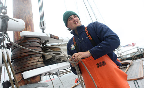 Owen Henry, 19, of Waterford, Va., graduated from high school last year. Now he's working on the Lady Maryland, a tall ship, as a deck hand during his gap year in Baltimore. He'll enroll this fall at Oberlin College.