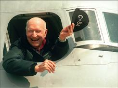 "Gail Halverson, shown here in 1998 on the 50-year anniversary of the Berlin Airlift at Berlin's Tempelhof airport, was the original ""Candy Bomber"" pilot. He came up with the idea of dropping sweets for the children of Berlin."