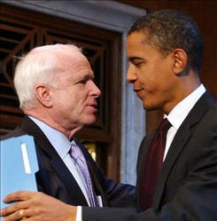 Republican John McCain and Democrat Barack Obama meet in the Capitol after a January 2007 meeting. Colleagues in the Senate, the two now compete against each other for the presidency, where Obama enjoys an edge over the GOP candidate, according to a USA TODAY/Gallup poll.