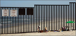 The Supreme Court  rejected a challenge to the Bush administration's efforts to speed up construction of a fence along the border between the United States and Mexico. Here, a portion of already constructed fence is seen on the beach area of Tijuana, Mexico.