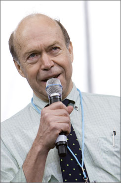 "Climate scientist Dr. James Hansen speaks at the Green Apple Festival in April in Washington, DC. Hansen told the associated press recently: ""We're toast if we don't get on a very different path."""