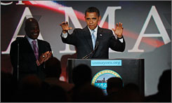 Presumed Democratic presidential nominee Barack Obama, the senator from Illinois, is bracing himself for race-based ads in the campaign. Here, Obama is seen addressing a meeting of the U.S. Conference of Mayors in Miami on Saturday.