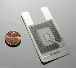 A radio frequency identification chip, known as RFID, can be used in many devices, including common identification tags.