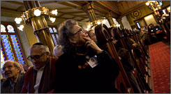 """Members of the congregation attend the Eldridge Street Synagogue in Manhattan. """"Non-Orthodox Judaism is becoming more like American religion as a whole, which has been largely female,"""" says a Brandeis history professor."""