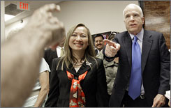 Republican presidential candidate Sen. John McCain, R-Ariz., greets supporters during the opening of his Nevada campaign headquarter's office in Henderson, Nev., Wednesday.