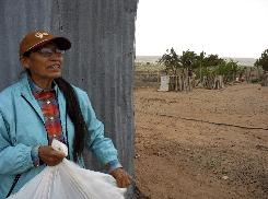Helen Benally, a Federal Office of Navajo-Hopi Indian Relocation employee, gathers hay to feed her father's sheep on May 22 in Sanders, Ariz. More than 20 years ago, the federal government bought land here for thousands of Navajos who were relocated off land Congress said belonged to the Hopi tribe.