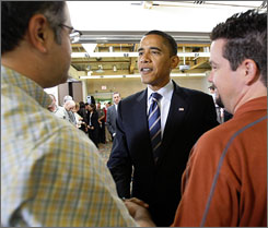 Presumed Democratic presidential nominee Barack Obama, the senator from Illinois, has asked his fundraisers to assist the debt-ridden Sen. Hillary Clinton of New York, his former Democratic rival. Here, Obama is seen meeting supporters in Las Vegas on Tuesday.