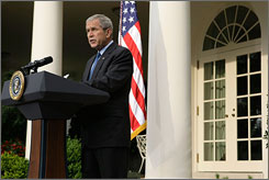 President Bush, speaking from the White House Rose Garden, said Thursday that he will lift key trade sanctions against North Korea because of the country's handover of nuclear information.