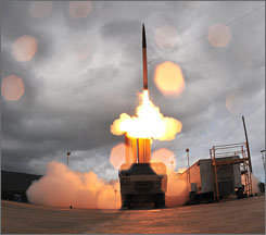 The Terminal High Altitude Area Defense system (THAAD) missile sets off from a mobile launcher at Kauai's Pacific Missile Range Facility on Wednesday.