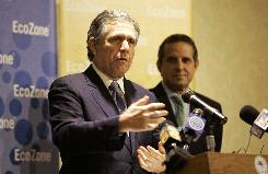 "Leslie Moonves, President and CEO of CBS Corportation and Miami Mayor Manny Diaz speak at a press conference at the Mayor's conference in Miami as they announce a ""ground-breaking strategic partnership to work with U.S. Mayors and local governments to green cities across the country""."