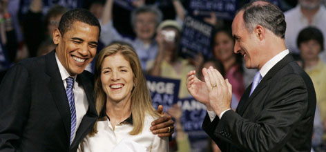 Caroline Kennedy has publicly backed Barack Obama and now works as an adviser to him. She is seen here at an April rally in Scranton, Pa., with Obama, left, and Pennsylvania Sen. Bob Casey, right.