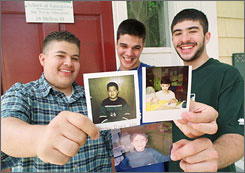 Former Charles G. Harrington Elementary School students, from left, Marlon Diaz, Dino DeSousa and Michael Pereira were shown after high school and before college in 2001 in Boston, holding photos of themselves from 1991 when they were promised a free college education.