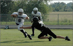 In 2006, McCall Maddox of Jacksboro, Texas, tore his ACL during Pee Wee Football at age 12. After an experimental surgery, here he is (No. 6) playing in September 2007.